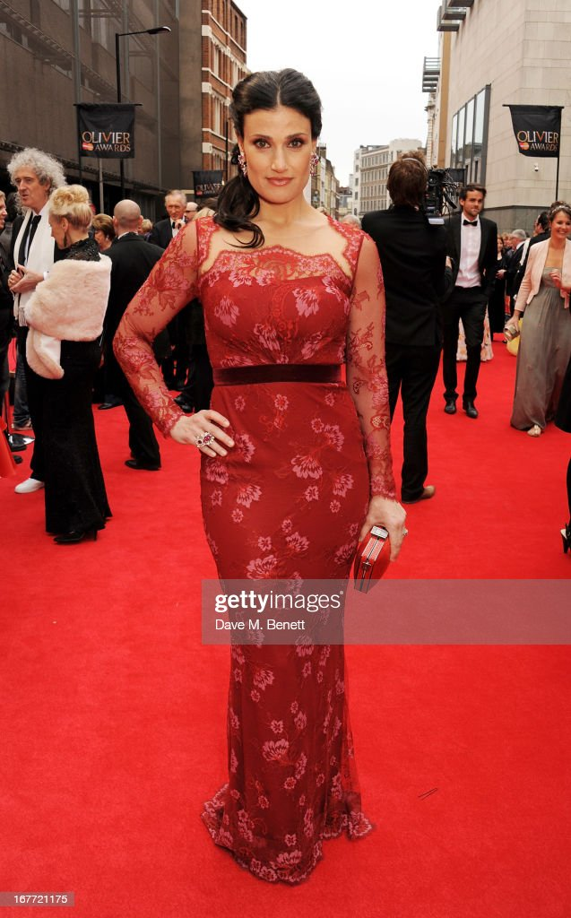 <a gi-track='captionPersonalityLinkClicked' href=/galleries/search?phrase=Idina+Menzel&family=editorial&specificpeople=213583 ng-click='$event.stopPropagation()'>Idina Menzel</a> arrives at The Laurence Olivier Awards 2013 at The Royal Opera House on April 28, 2013 in London, England.