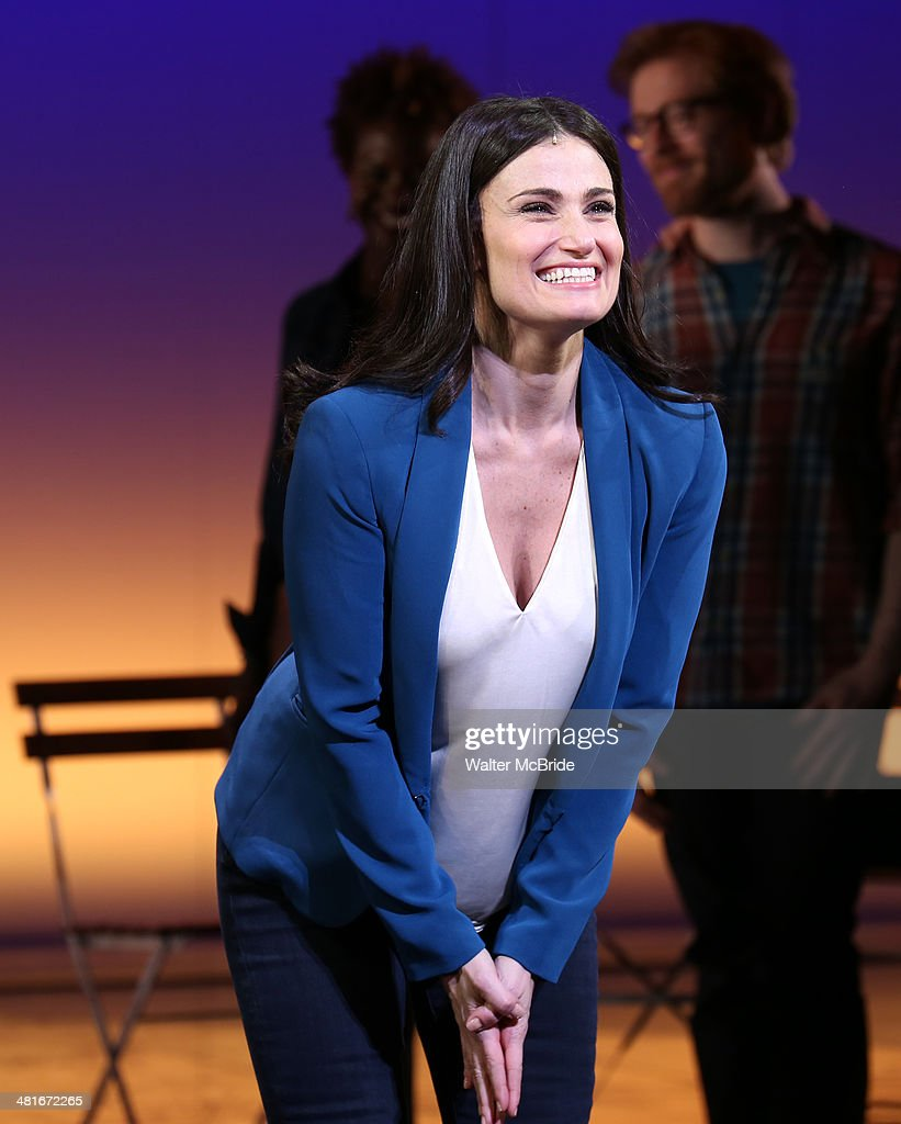 <a gi-track='captionPersonalityLinkClicked' href=/galleries/search?phrase=Idina+Menzel&family=editorial&specificpeople=213583 ng-click='$event.stopPropagation()'>Idina Menzel</a> during the Broadway Opening Night Curtain Call for 'If/Then' at Richard Rodgers Theatre on March 30, 2014 in New York City.