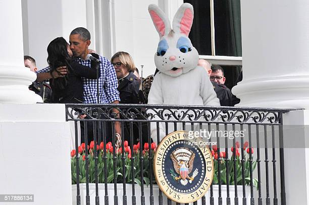 Idina Menzel hugs President Barack Obama after singing the national anthem during the 2016 White House Easter Egg Roll at the White House on March 28...