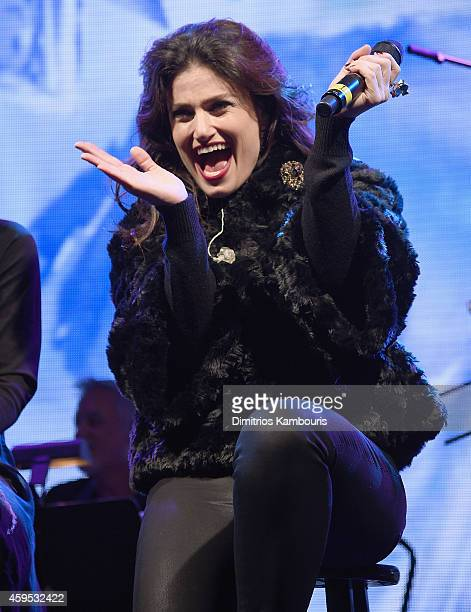 Idina Menzel performs during Bloomingdale's Holiday Window Unveiling at Bloomingdale's 59th Street Store on November 24 2014 in New York City