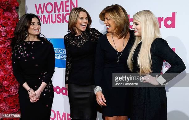 Idina Menzel Savannah Guthrie Hoda Kotb and Meghan Trainor attend 2014 Billboard Women In Music Luncheon at Cipriani Wall Street on December 12 2014...