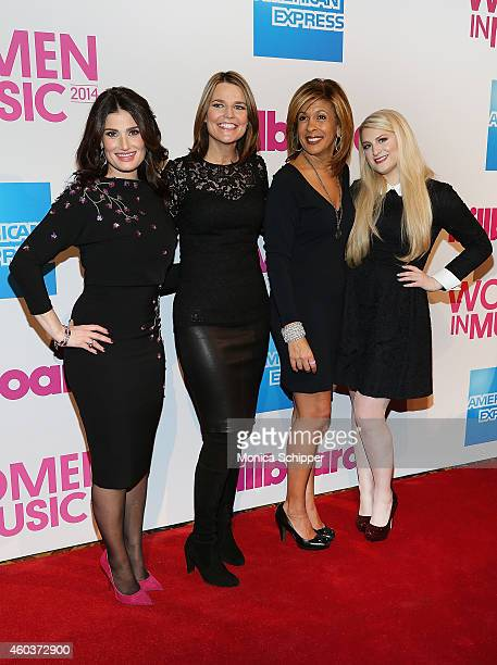 Idina Menzel Savannah Guthrie Hoda Kotb and Meghan Trainor attend the 2014 Billboard Women In Music Luncheon at Cipriani Wall Street on December 12...