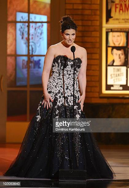 Idina Menzel speaks onstage during the 64th Annual Tony Awards at Radio City Music Hall on June 13 2010 in New York City