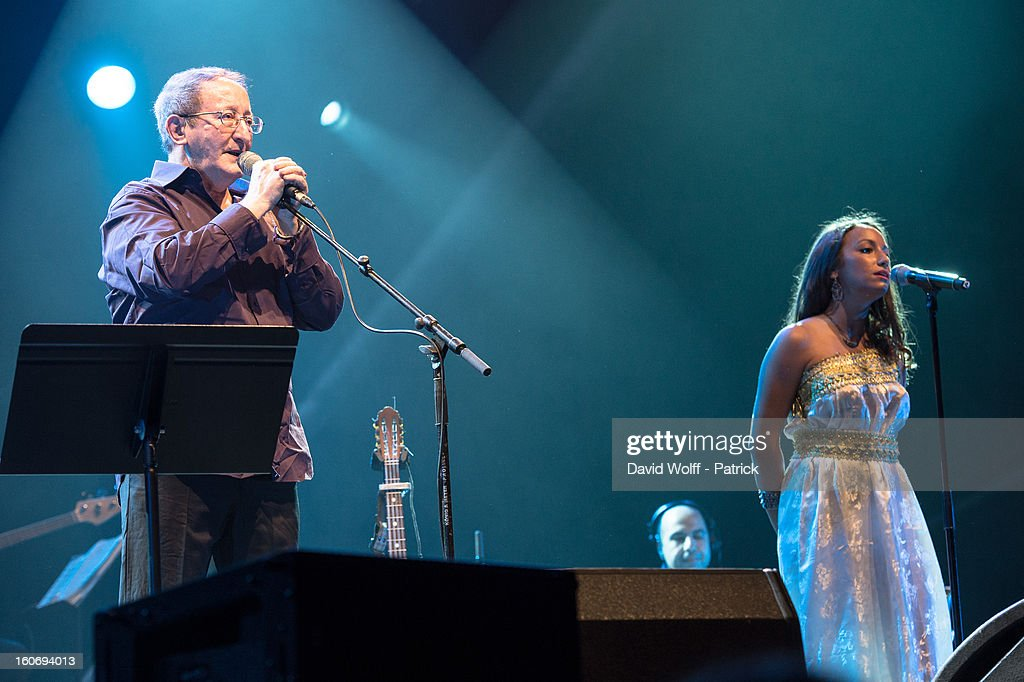 Idir and Tanina Cheriet perform at L'Olympia on February 4, 2013 in Paris, France.