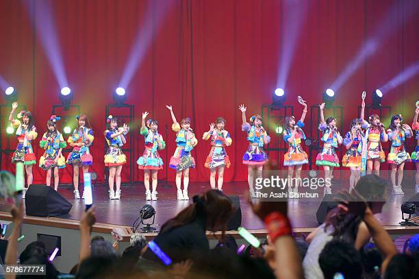 Idol group AKB48 perform onstage at the Universal Studios Japan on July 21 2016 in Osaka Japan