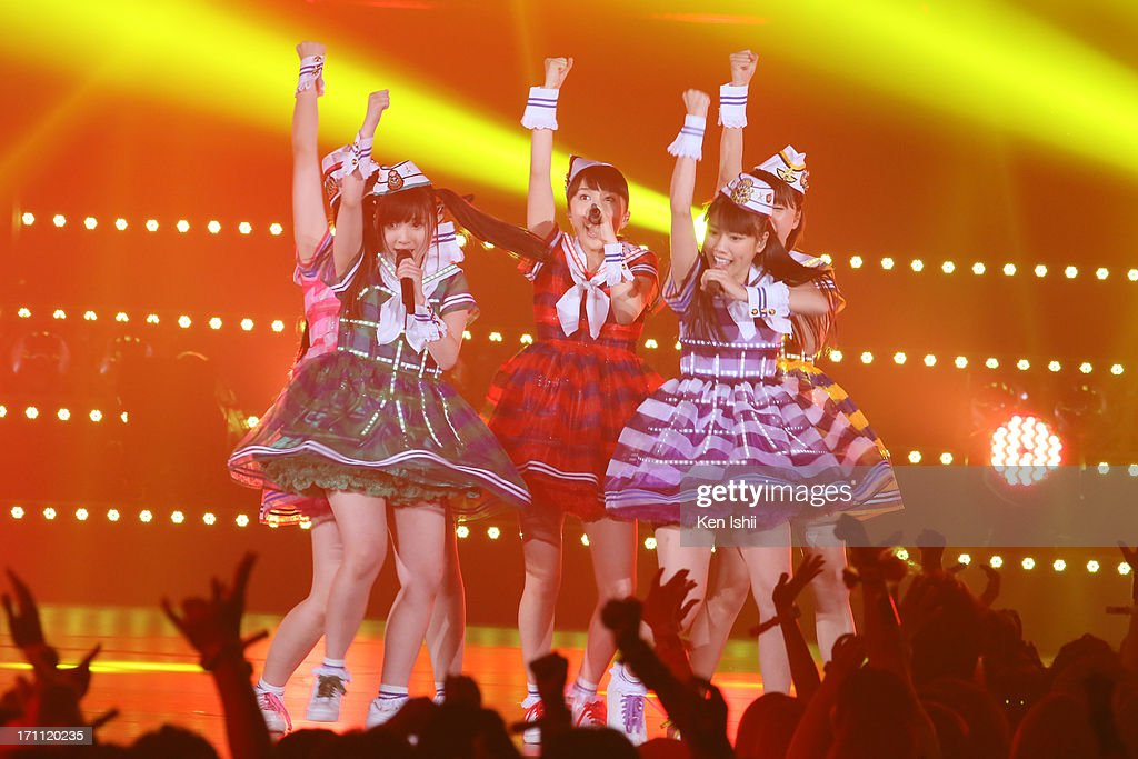 Idol group Momoiro Clover Z perfoms onstage during the MTV VMAJ 2013 at Makuhari Messe on June 22, 2013 in Chiba, Japan.