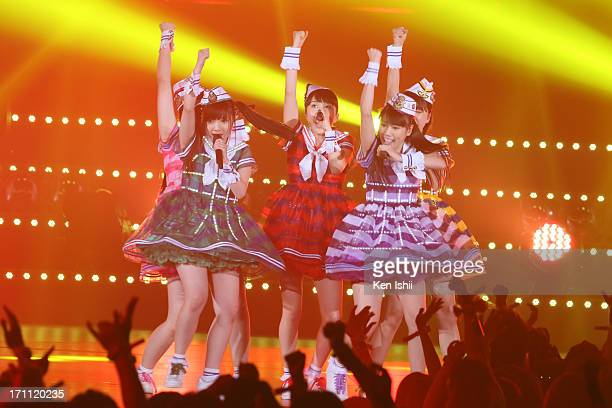 Idol group Momoiro Clover Z perfoms onstage during the MTV VMAJ 2013 at Makuhari Messe on June 22 2013 in Chiba Japan