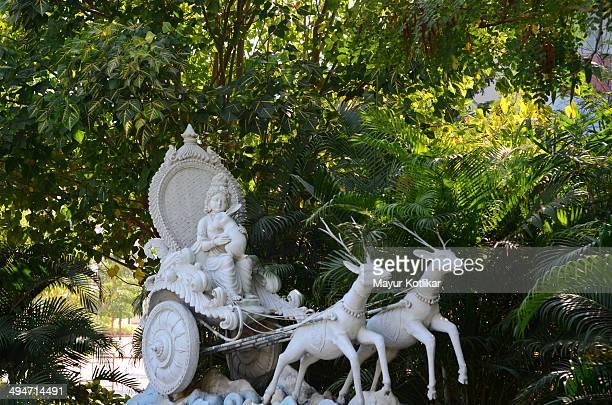 Idol of Hindu God Krishna on Chariot