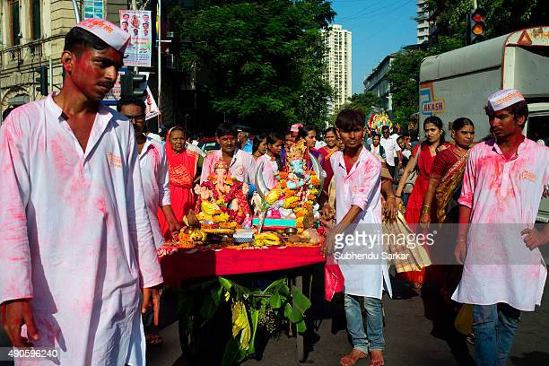 Idol of lord Ganesha is being taken for immersion There is a lot of fervour surrounding Ganapati festival Ganesha Chaturthi or Ganapati festival is...