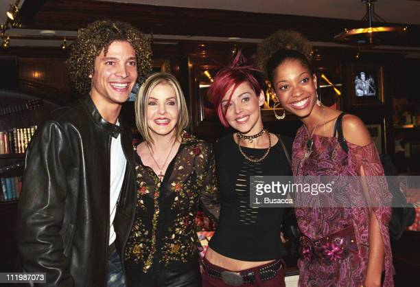 Priscilla Presley and stars of the famed 'America Idol' competition Justin Guarini Nikki McKibbin and Tamyra Gray celebrate the release of 'Elvis's...