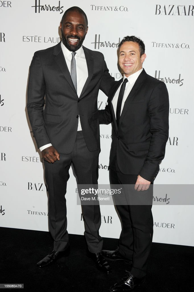 Idris Elba (L) an Warren Brown attend the Harper's Bazaar Women of the Year Awards 2012, in association with Estee Lauder, Harrods and Tiffany & Co., at Claridge's Hotel on October 31, 2012 in London, England.