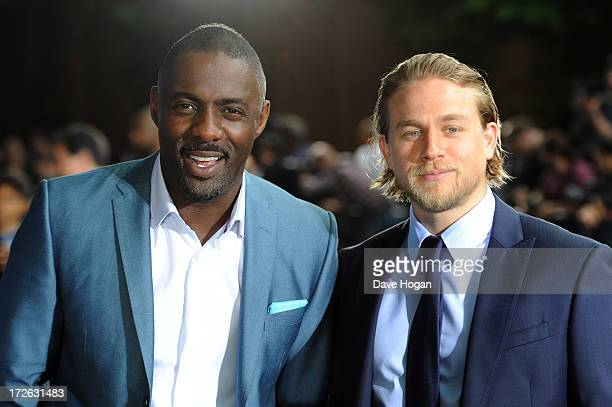 Idris Elba and Charlie Hunnam attend the European premiere of 'Pacific Rim' at The BFI IMAX on July 4 2013 in London England