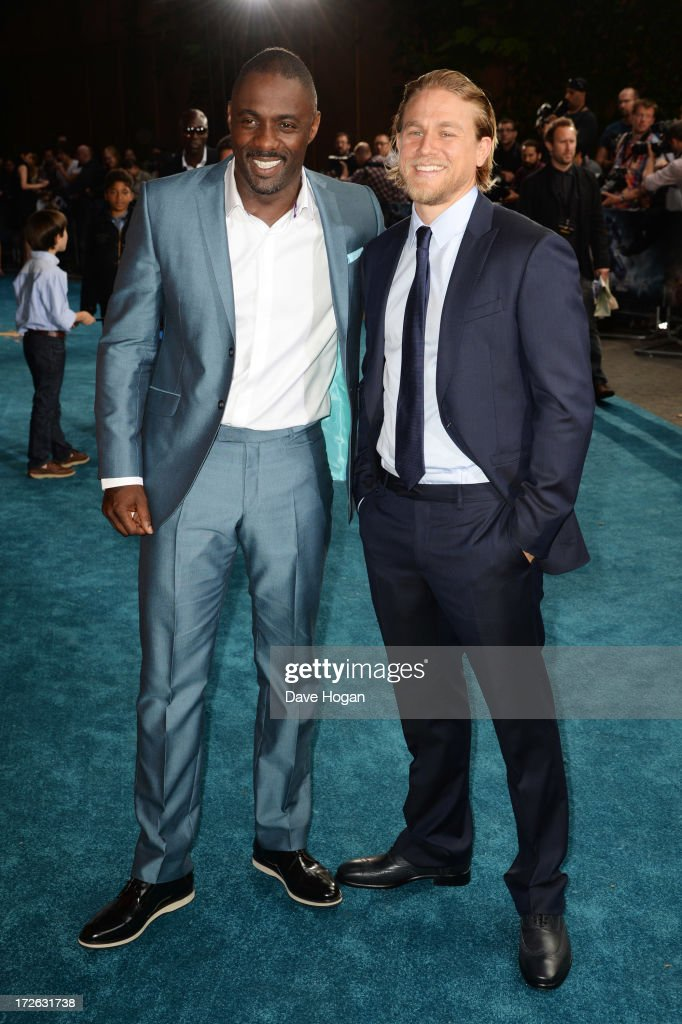 Idris Elba and Charlie Hunnam attend the European premiere of 'Pacific Rim' at The BFI IMAX on July 4, 2013 in London, England.