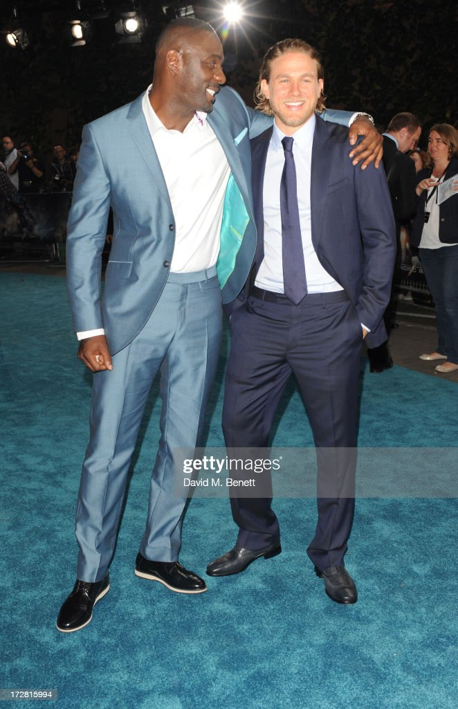 Idris Elba and Charlie Hunnam attend the European Premiere of 'Pacific Rim' at BFI IMAX on July 4, 2013 in London, England.