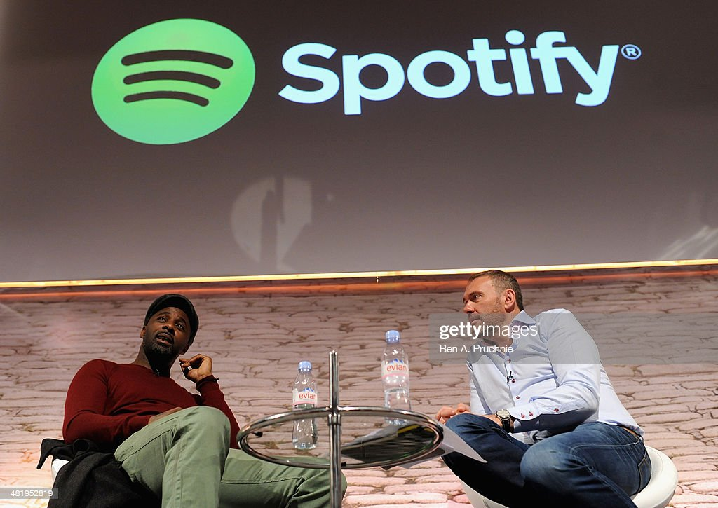 Idris Elba and Chris Maples, Spotify, VP Europe speak on stage at the Spotify in Conversation with Idris Elba on the ITV Stage at Princess Anne during day three of Advertising Week Europe held at BAFTA 195 Piccadilly on April 2, 2014 in London, England.