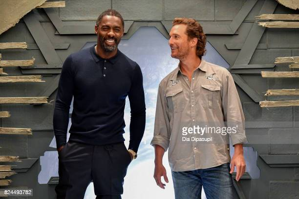 Idris Elba and Matthew McConaughey attend 'The Dark Tower' photocall at the Whitby Hotel on July 30 2017 in New York City