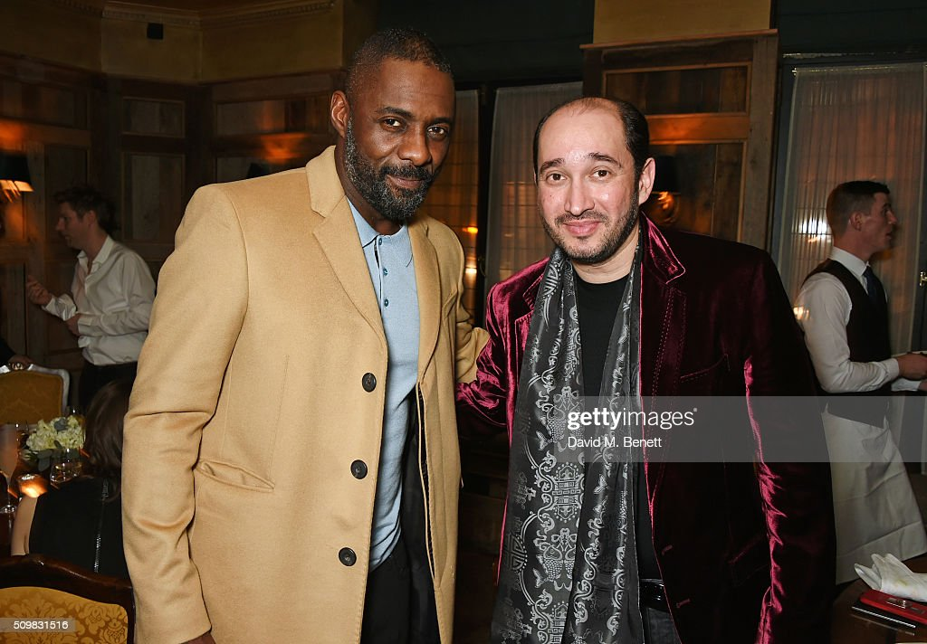 <a gi-track='captionPersonalityLinkClicked' href=/galleries/search?phrase=Idris+Elba&family=editorial&specificpeople=215443 ng-click='$event.stopPropagation()'>Idris Elba</a> (L) and Sheikh Mohammed Youssef El- Khereiji attend Harvey Weinstein's pre-BAFTA dinner in partnership with Burberry and GREY GOOSE at Little House Mayfair on February 12, 2016 in London, England.
