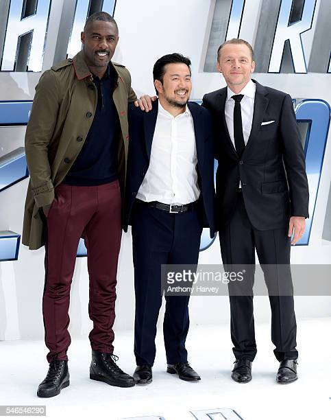Idris Elba Director Justin Lin and Simon Pegg attend the UK premiere of 'Star Trek Beyond' on July 12 2016 in London United Kingdom