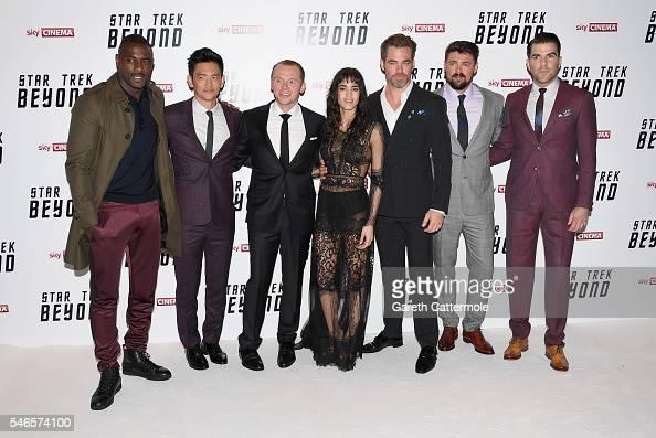 Idris Elba John Cho Simon Pegg Sofia Boutella Chris Pine Karl Urban and Zachary Quinto attend the UK Premiere of Paramount Pictures 'Star Trek...