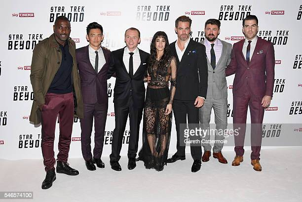 Idris Elba John Cho Simon Pegg Sofia Boutella Chris Pine Karl Urban and Zachary Quinto attend the UK Premiere of Paramount Pictures 'Star Trek...