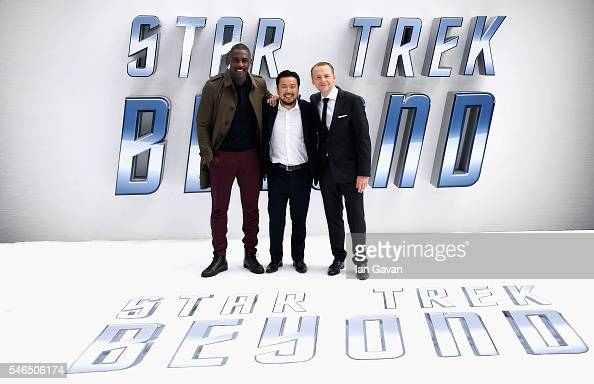 Idris Elba Justin Lin and Simon Pegg arrive for the UK premiere of 'Star Trek Beyond' at Empire Leicester Square on July 12 2016 in London UK