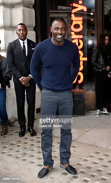 Idris Elba launches his new premium menswear AW15 collection 'Idris Elba Superdry' on November 26 2015 in London England