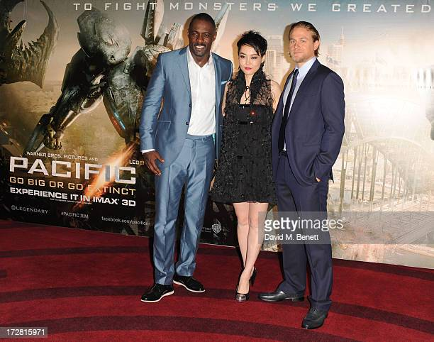 Idris Elba Rinko Kikuchi and Charlie Hunnam attend the European Premiere of 'Pacific Rim' at BFI IMAX on July 4 2013 in London England