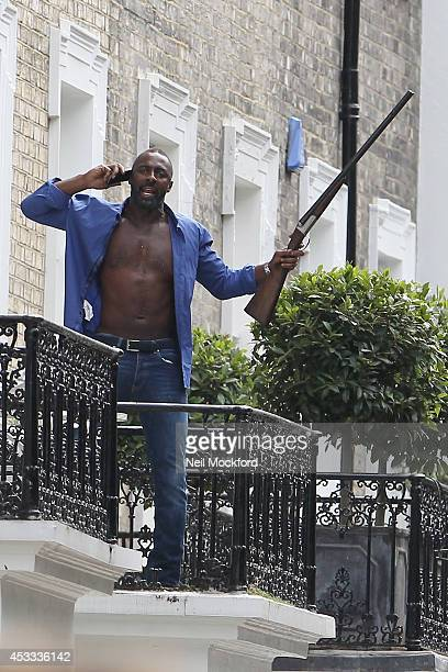 Idris Elba seen on the filmset of 'A Hundred Streets' on August 8 2014 in London England