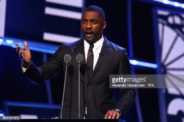 Idris Elba speaks during The Best FIFA Football Awards at The May Fair Hotel on October 23 2017 in London England