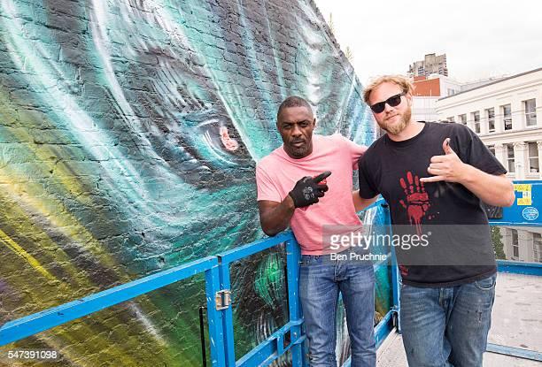Idris Elba visits a street art mural promoting Star Trek Beyond in East London on July 14 2016 in London England