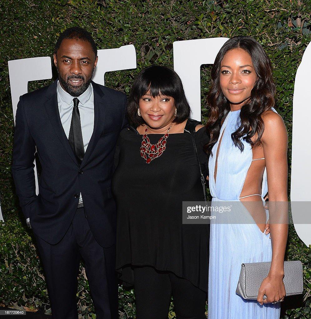 Idris Elba, Zindzi Mandela and Naomie Harris attend the premiere of The Weinstein Company's 'Mandela: Long Walk To Freedom' at ArcLight Cinemas on November 11, 2013 in Hollywood, California.