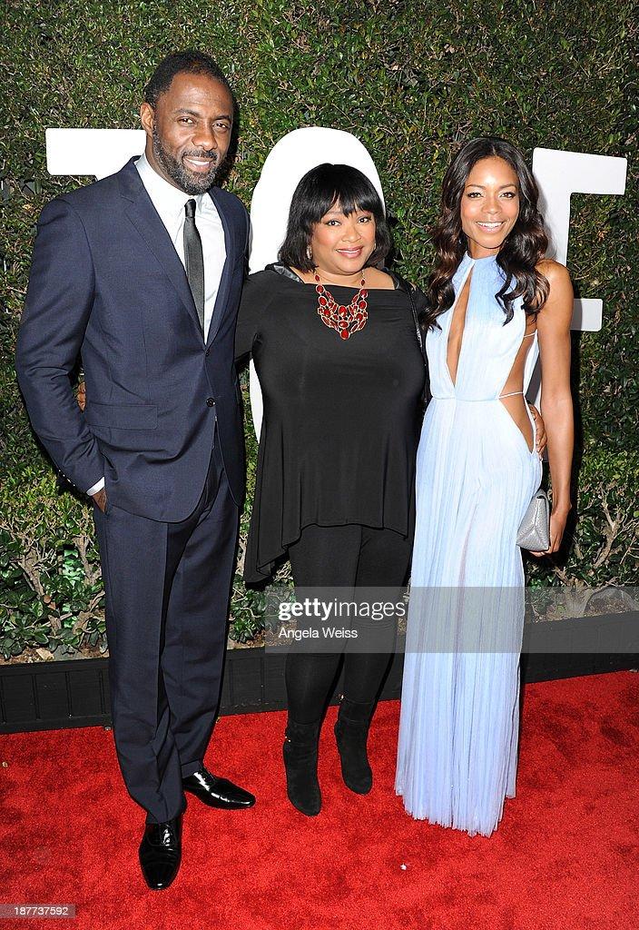 Idris Elba, Zindzi Mandela and Naomie Harris attend the premiere of The Weinstein Company's 'Mandela: Long Walk To Freedom' at ArcLight Cinemas Cinerama Dome on November 11, 2013 in Hollywood, California.