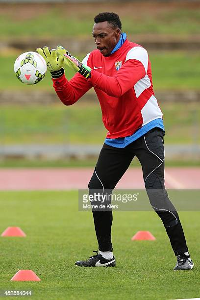 Idriss Carlos Kameni catches the ball during a Malaga CF training session at Santos Stadium on July 24 2014 in Adelaide Australia