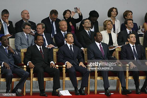 Idriss Deby Itno Paul Biya Nicolas Sarkozy Blaise Compaore Francois Fillon in Paris France on July 14th 2010