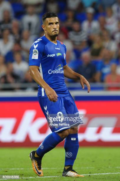 Idriss Saadi of Strasbourg during the Ligue 1 match between Olympique Lyonnais and Strasbourg at Parc Olympique on August 5 2017 in Lyon