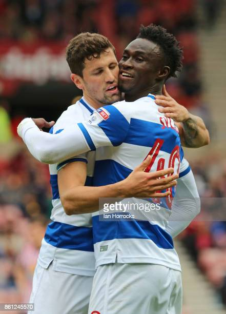 Idriss Sylla of QPR celebrates scoring the opening goal with Pawel Wszolek during the Sky Bet Championship match between Sunderland and Queens Park...