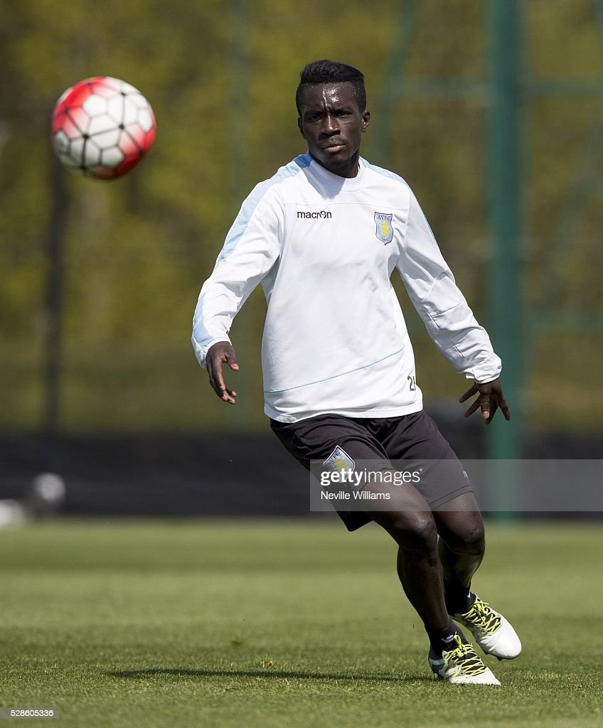 Idrissa Gana of Aston Villa in action during a Aston Villa training session at the club's training ground at Bodymoor Heath on May 06, 2016 in Birmingham, England.