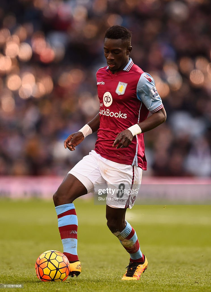 Idrissa Gana of Aston Villa in action during the Barclays Premier League match between Aston Villa and Liverpool at Villa Park on February 14, 2016 in Birmingham, Liverpool.