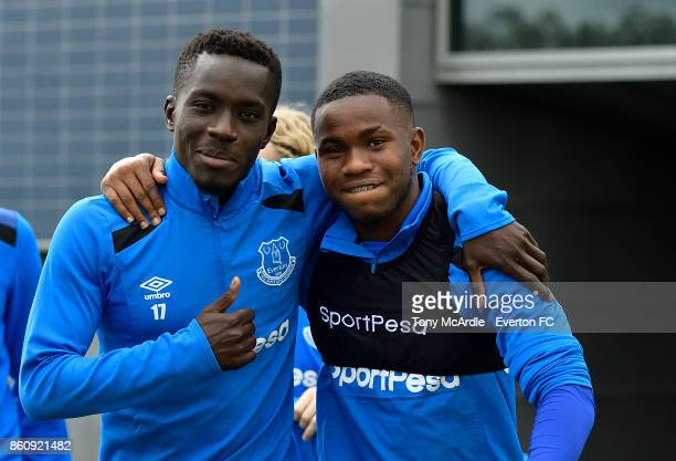Idrissa Gueye and Ademola Lookman during the Everton training session at USM Finch Farm on October 13 2017 in Halewood England