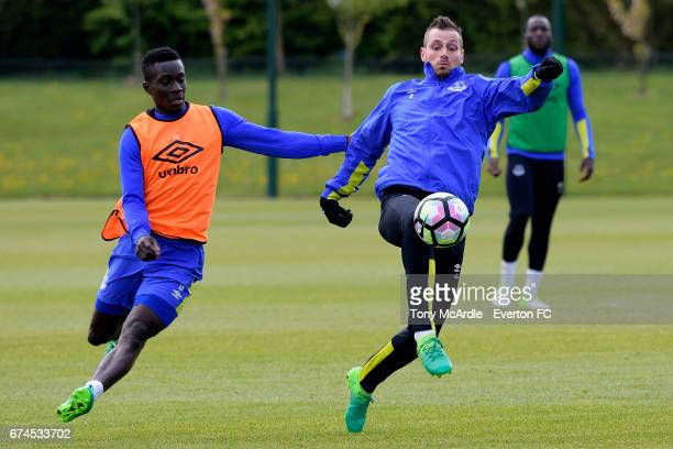 Idrissa Gueye and Morgan Schneiderlin during the Everton FC training session at USM Finch Farm on April 28 2017 in Halewood England