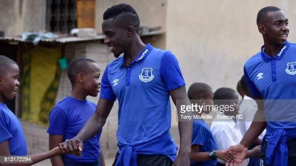 Idrissa Gueye and Yannick Bolasie of Everton visits Uhuru Primary School in DarEsSalaam on July 12 2017 in Dar es SalaamTanzania