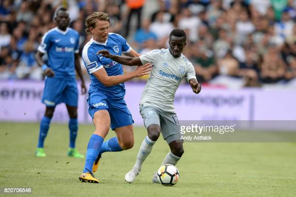 Idrissa Gueye from Everton is challenged by Sander Berge from KRC Genk during the PreSeason Friendly between KRC Genk and Everton at Cristal Arena on...