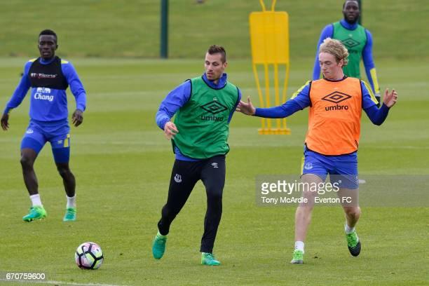 Idrissa Gueye Morgan Schneiderlin Tom Davies during the Everton training session at USM Finch Farm on April 20 2017 in Halewood England