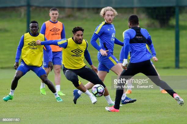 Idrissa Gueye Muhamed Besic Ashley Williams Tom Davies and Ademola Lookman during the Everton FC training session at USM Finch Farm on March 30 2017...