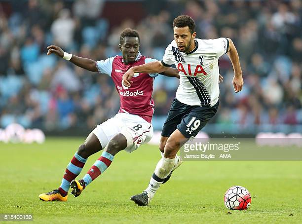 Idrissa Gueye of Aston Villa and Mousa Dembele of Tottenham Hotspur during the Barclays Premier League match between Aston Villa and Tottenham...