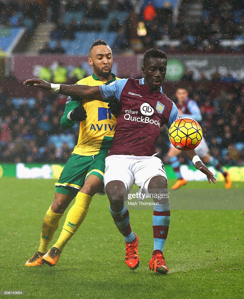 <a gi-track='captionPersonalityLinkClicked' href=/galleries/search?phrase=Idrissa+Gueye&family=editorial&specificpeople=7312174 ng-click='$event.stopPropagation()'>Idrissa Gueye</a> of Aston Villa controls the ball under pressure of Hathan Redmond of Norwich City during the Barclays Premier League match between Aston Villa and Norwich City at Villa Park on February 6, 2016 in Birmingham, England.