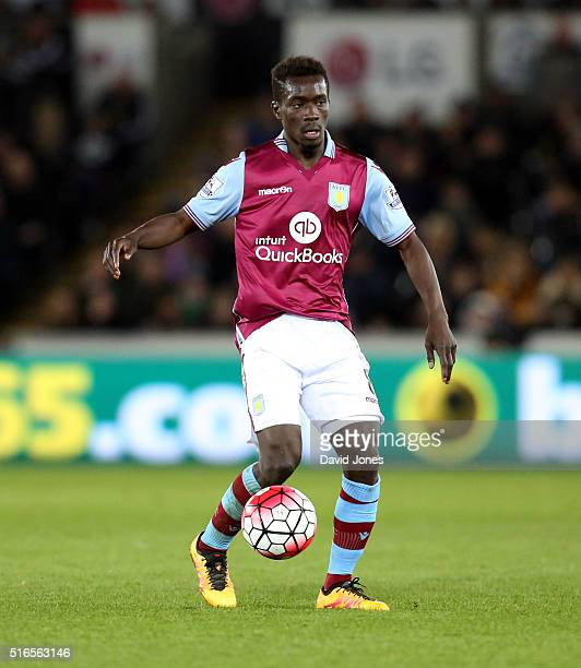 Idrissa Gueye of Aston Villa during the Barclay's Premier League match between Swansea City and Aston Villa at the Liberty Stadium on March 19 2016...