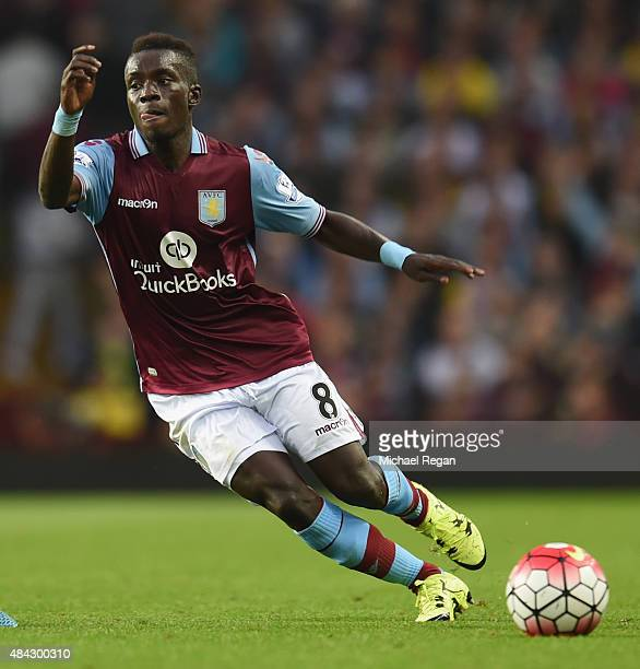 Idrissa Gueye of Aston Villa in action during the Barclays Premier League match between Aston Villa and Manchester United at Villa Park on August 14...