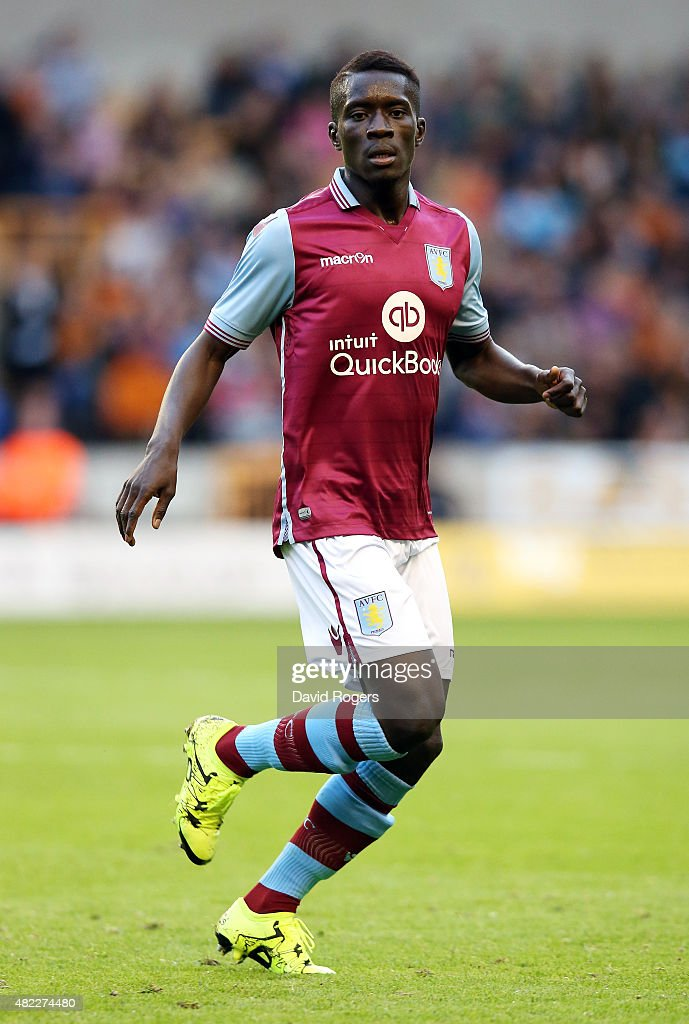 <a gi-track='captionPersonalityLinkClicked' href=/galleries/search?phrase=Idrissa+Gueye&family=editorial&specificpeople=7312174 ng-click='$event.stopPropagation()'>Idrissa Gueye</a> of Aston Villa looks on during the pre season friendly between Wolverhampton Wanderers and Aston Villa at Molineux on July 28, 2015 in Wolverhampton, England.