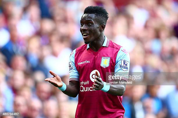 Idrissa Gueye of Aston Villa reacts during the Barclays Premier League match between Aston Villa and Sunderland at Villa Park on August 29 2015 in...